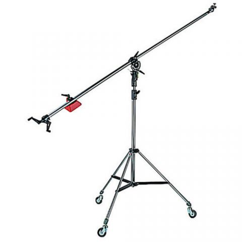 Manfrotto 025BS Super Boom Arm with Pivoting Clamp 123, Counter Weight 022, Cable Clips and Cine Stand 008 with Casters, Black Anodized  by Manfrotto