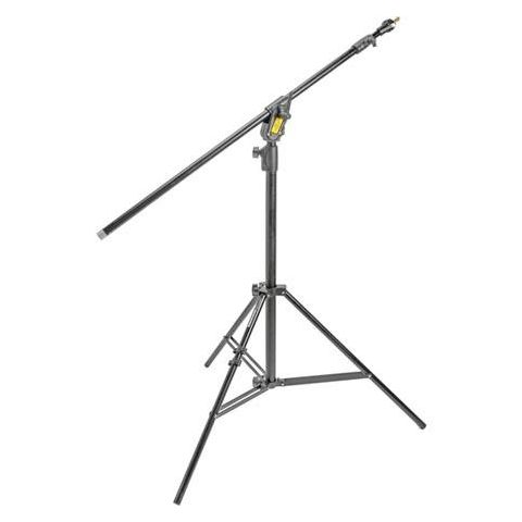 Manfrotto Boom Stand 420 (Black Anodized), 3-Section Stand Convertible to Double Extension Boom and Stand (#3398B)  by Manfrotto