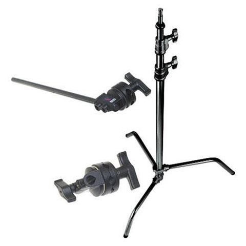 "Avenger 10.75' C-Stand 33 Kit with 40"" Black Extension Arm / Black Grip Head, 5/8"" Mounting Stud, 2 Riser, Black Steel  by Avenger"