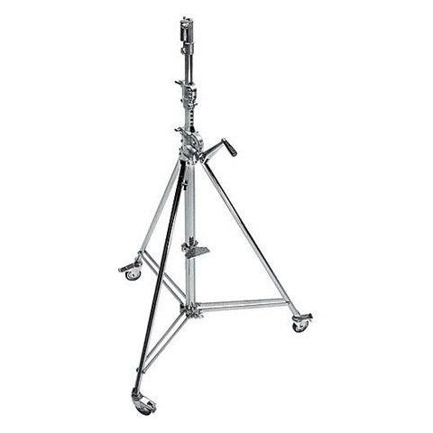 Avenger 12.8' Wind Up 39 Cine Stand with Braked Wheels, 3 Sections, 2 Risers and 1 Leveling Leg, Chrome Steel  by Avenger