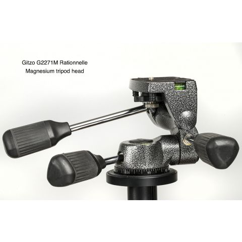 Gitzo G2271M Magnesium 3-way Low-Profile Rationelle Head with Fixed Compact Plate, for Series 2 Tripods  by Gitzo