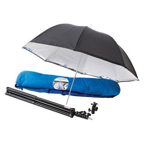 "Lastolite LL LU2474F 39"" All-in-One Umbrella Kit Includes Umbrella, Stand, Tilthead Shoe Lock, Bag, Silver/White  by Lastolite"