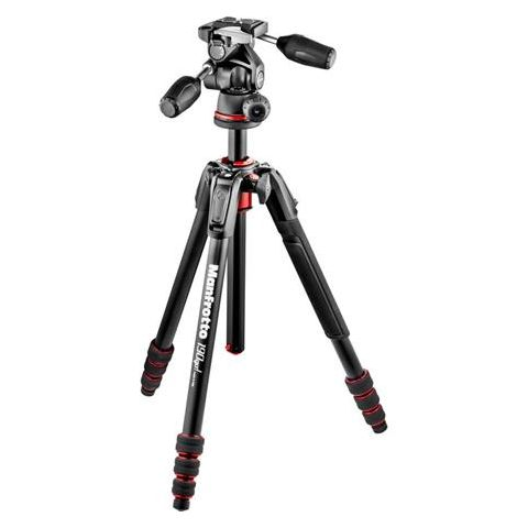 "Manfrotto 190Go! 4-Section Aluminum Tripod Kit with 3-Way Head, 62"" Max Height, Black  by Manfrotto"