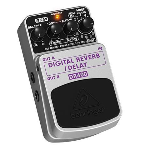 Behringer Digital Reverb/Delay DR400 Stereo Effects Pedal, 1k Ohms Output Impedance  by Behringer
